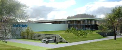 hal, groendak met terras boven parkeren en kantoor